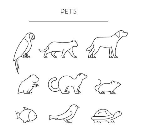 ペットの行セットです。線形シルエット動物は、白で隔離。ベクトル アイコン オウム、猫、犬、ラブラドール、ハムスター、フェレット、マウス、