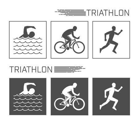 endurance run: Vector logo triathlon. Flat figures triathletes on a white background. Swimming, cycling and running symbol. Illustration