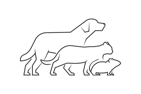 cat and mouse: Black line logo for pets shop. Vector linear pets on a white background. Dog, cat and mouse.