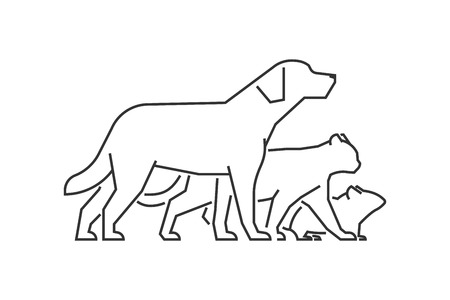 Black line logo pet ?linic. Vector linear pets on a white background. Dog, cat and mouse.
