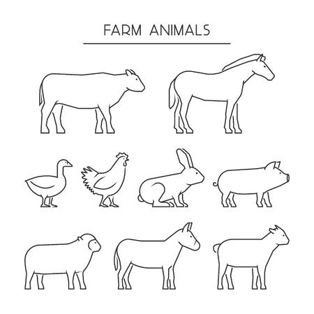 línea de conjunto de vectores de animales de granja. Siluetas de los animales aislados sobre un fondo blanco. Iconos lineal vaca, cerdo, conejo, burro, caballo, cabra, oveja, ganso y pollo. Ilustración de vector