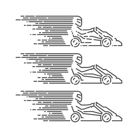 go kart: Vector thin linear go kart logo and icon. Line figures kart racer. Karting label and badge.
