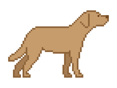 8 bit: Vector pixel art dog on a white background. Pixel dog for 8 bit video games. Illustration
