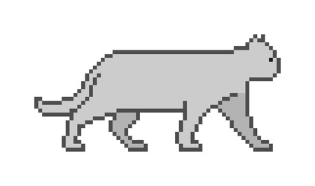 8 bit: Vector pixel art cat on a white background. Pixel cat for 8 bit video games. Illustration