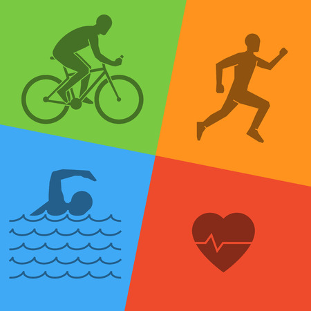 Line and flat triathlon logo. Swimming, cycling and running icon. Silhouettes of figures triathlete. Vector sport symbol.