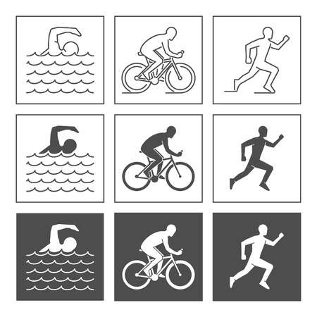 bicycling: Vector logo triathlon. Flat figures triathletes on a white background. Swimming, cycling and running symbol. Illustration
