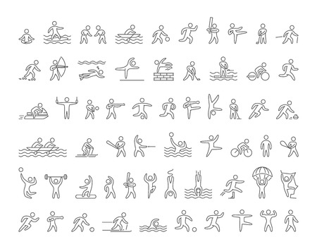 Set di forme lineari popolari atleti di sport. Icone vettoriali di sportivi sport estivi e invernali su sfondo bianco.