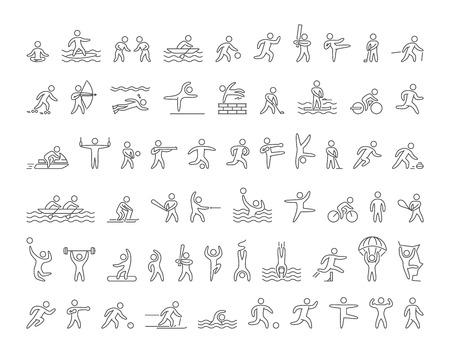 Zestaw liniowych kształtów popularnych sportowców. Ikony wektorowe sportowców letnich i zimowych sportów na białym tle.