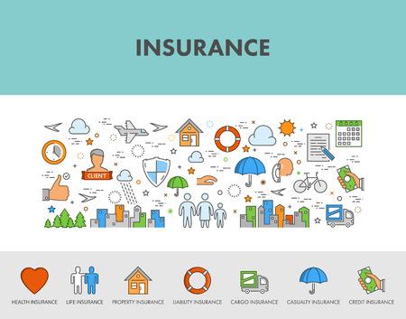 Línea de diseño de concepto bandera de la tela y los iconos para el seguro. Seguro de salud. Seguro de vida. Seguro de propiedad. El seguro de crédito. seguro de la carga. Ilustración de vector