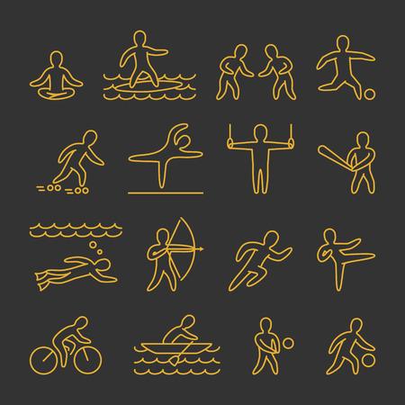 icono deportes: vector de la línea da forma a los atletas. Icono y símbolos para deportes populares. El oro de los deportistas figura aislada sobre fondo negro.