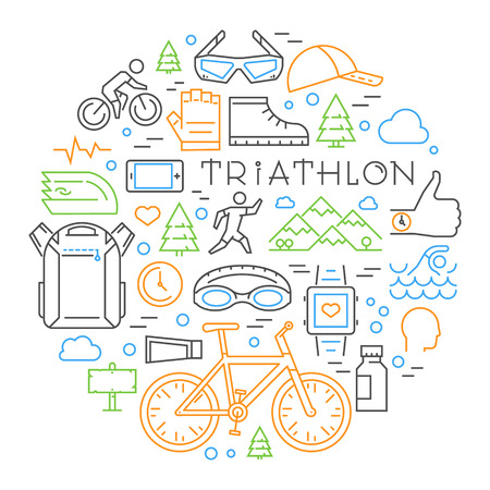 Colored linear triathlon concept. Vector line triathlete and other elements on the theme of the triathlon. Sport logo for t-shirts.