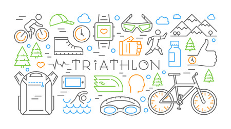 horizontal line: Colored horizontal line banner triathlon. Vector sport concept. Vector label for t-shirts.