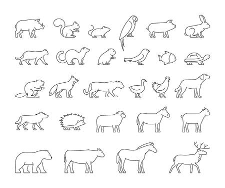 Vector de la línea fija de productos nacionales, la granja y animales salvajes. siluetas lineales animales aislados en un fondo blanco. iconos modernos contorno gato, perro, vaca, cerdo, zorro, conejo, caballo, oveja y pollo. Ilustración de vector