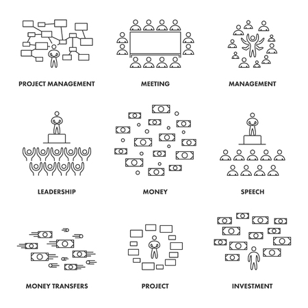 remittances: Linear concepts for meetings, management and investment. Vector symbols for performances, remittances and leadership. Line icons for money, speeches and leadership.