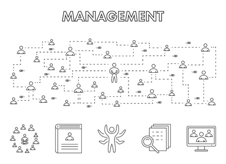 management team: Line design concept web banner for management team. Vector linear horizontal banner for management. Illustration
