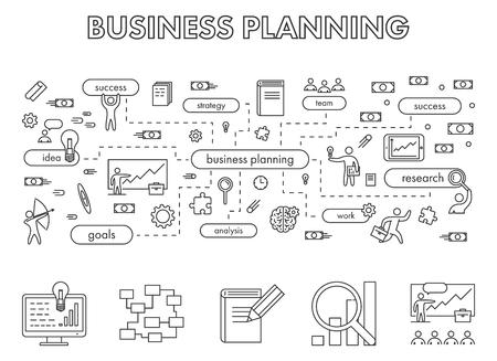 planning: Vector line design concept web banner for business planning. Modern linear horizontal banner for business plan. Line creative style concept for web.