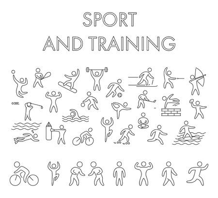 Vector line design concept web banner for sport. Modern linear horizontal banner for sports training. Line creative style concept for web. Illustration