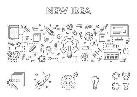 new idea: Vector line design concept web banner for new idea. Modern linear horizontal banner for big idea. Line creative style concept for web.