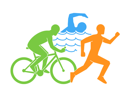 Color vector logo lineal y plano triatlón. Figuras de triatletas sobre un fondo blanco. Símbolo de natación, ciclismo y carrera.