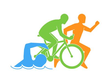 色ベクトルの線形かつ平らロゴ トライアスロン。白い背景にトライアスロンの数字。水泳、自転車、ランニングのシンボルです。  イラスト・ベクター素材