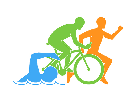 색 벡터 선형 및 평면 로고 트라이 애슬론. 흰색 배경에 트라이 애슬론 선수 수치입니다. 수영, 자전거 및 실행 상징.
