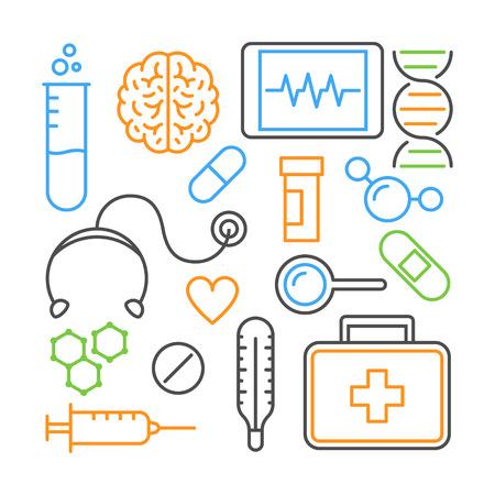 Color line design concept for medicine. Vector modern illustration for medicine.
