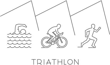 endurance: Line illustration triathlon. figures triathletes on a white background. Linear figure triathlon athletes. Swimming, cycling and running.