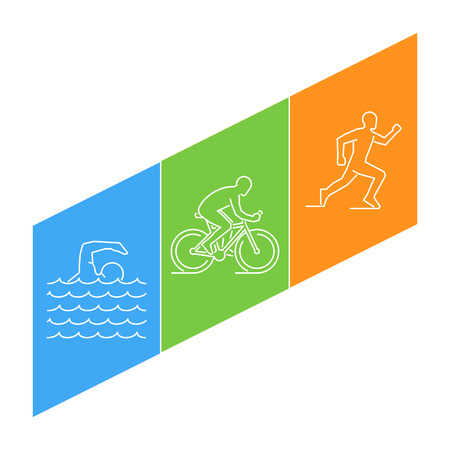 distance: line illustration triathlon. Linear figures triathletes. Figure triathlon athletes. Triathlon, swimming, cycling and running.