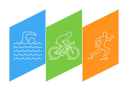 water sport: Color line triathlon. linear figures triathletes. Figure triathlon athletes. Triathlon, swimming, cycling and running.