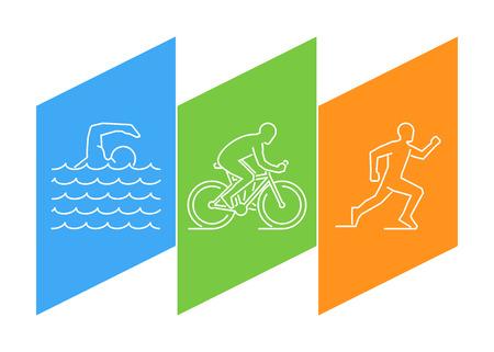 ciclo del agua: La línea de color triatlón. lineal figuras triatletas. Figura atletas de triatlón. Triatlón, natación, ciclismo y carrera.
