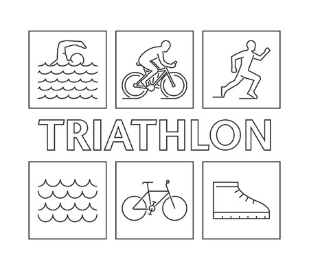 Iron Man: Modern line triathlon. figures triathletes on a white background. Linear figure triathlon athletes. Swimming, cycling and running icons.