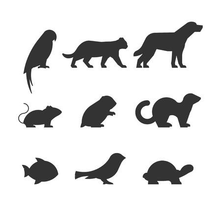 juego de figuras de animales domésticos. Siluetas negras animales aislados en blanco. Siluetas loro, gato, perro, ratón, hámster, hurón, peces, tortugas y canario.