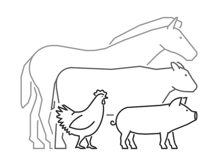 Line farm animals on a white background. linear  design  for farmers market. Outline farm animals . Line horse, pig, cow and chicken. Illustration