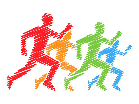 runners: Colored silhouettes of runners. figures athletes running. Line running symbol. running and marathon . Illustration