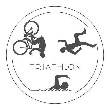 triathlon: Black  design triathlon. figures triathletes on a white background. Line figure triathlon athletes. Swim, cycle and run icons.