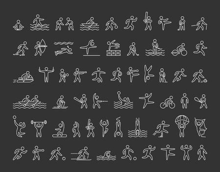 iconen van sporters op een zwarte achtergrond. Set van lineaire cijfers van de atleten van de winter en de zomer sporten. Line figuur atleten populaire sporten. Set van atleten.