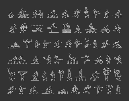 icons of sportsmen on black background. Set of linear figures of athletes of winter and summer sports. Line figure athletes popular sports. Set of athletes.
