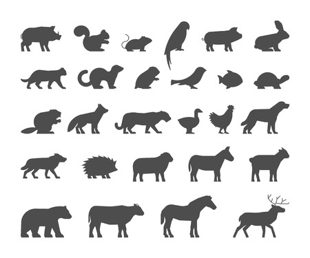 castor: Negro siluetas de granja y animales salvajes. siluetas de animales aislados. Figura negra mascotas. Icono de vaca, oso, castor, oveja, pollo y venado.