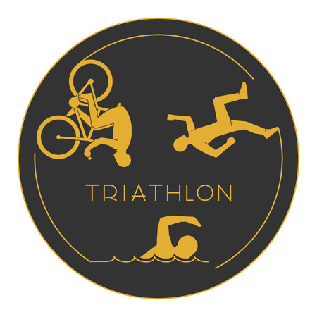 Gold triathlon. Gold figures triathletes on a white background. figure triathlon athletes. Swimming, cycling and running icons. Illustration