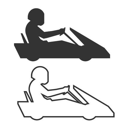 Linear karting symbol. figures racer karts. Outline icon go kart. silhouette karting driver. Иллюстрация