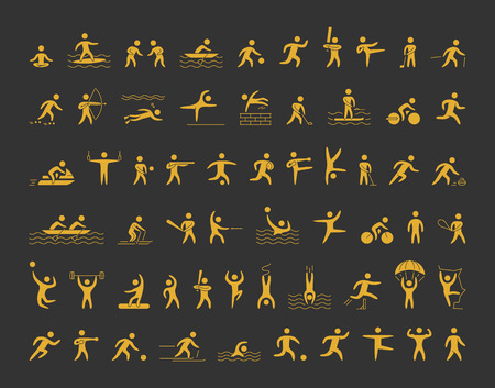 sports icons set. Gold shapes athletes for popular sports.