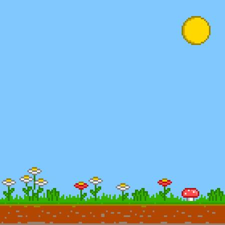 pixel background. Sunny day background.