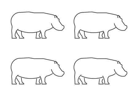 Outline hippo on a white background. Illustration
