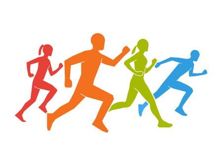 silhouettes: Colored silhouettes of runners.