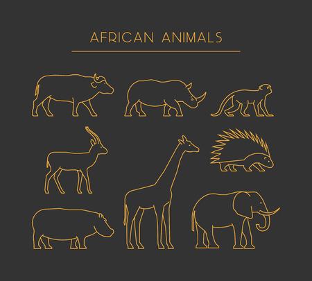 grupo de conductos de animales africanos. siluetas lineales de oro africano animales aislados en un fondo negro.