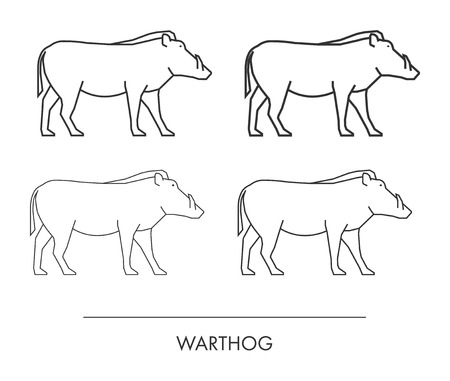 'wildlife reserve': Outline warthog on a white background. Vector modern silhouette warthog.