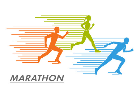 runners: Modern vector symbol for the marathon. Multicolored set of silhouettes of runners. Vector figure runners. Illustration