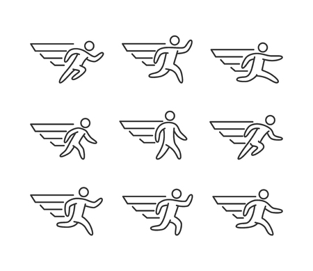 icarus: Modern outline runners icons. Vector line figures runners and running symbol. Icarus and a man with wings.