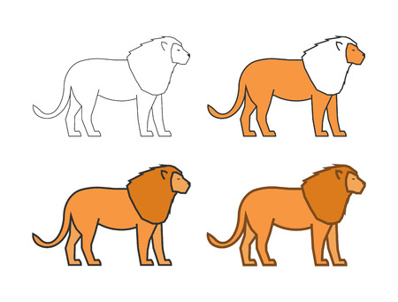 'wildlife reserve': Vector outline lion on a white background. Modern line silhouette lion.