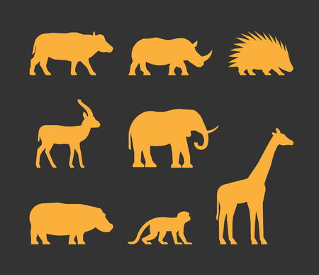 porcupine: Vector gold set of silhouettes african animals. Icon buffalo, rhino, gazelle and porcupine. Silhouette elephant, hippopotamus, monkey and giraffe. Silhouette african animals isolated.